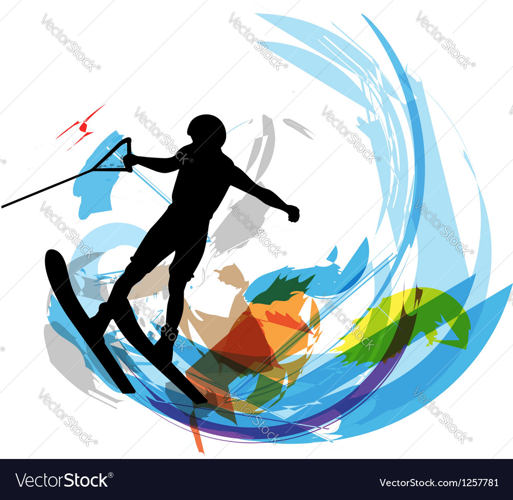 Water skiing man vector | Price: 1 Credit (USD $1)