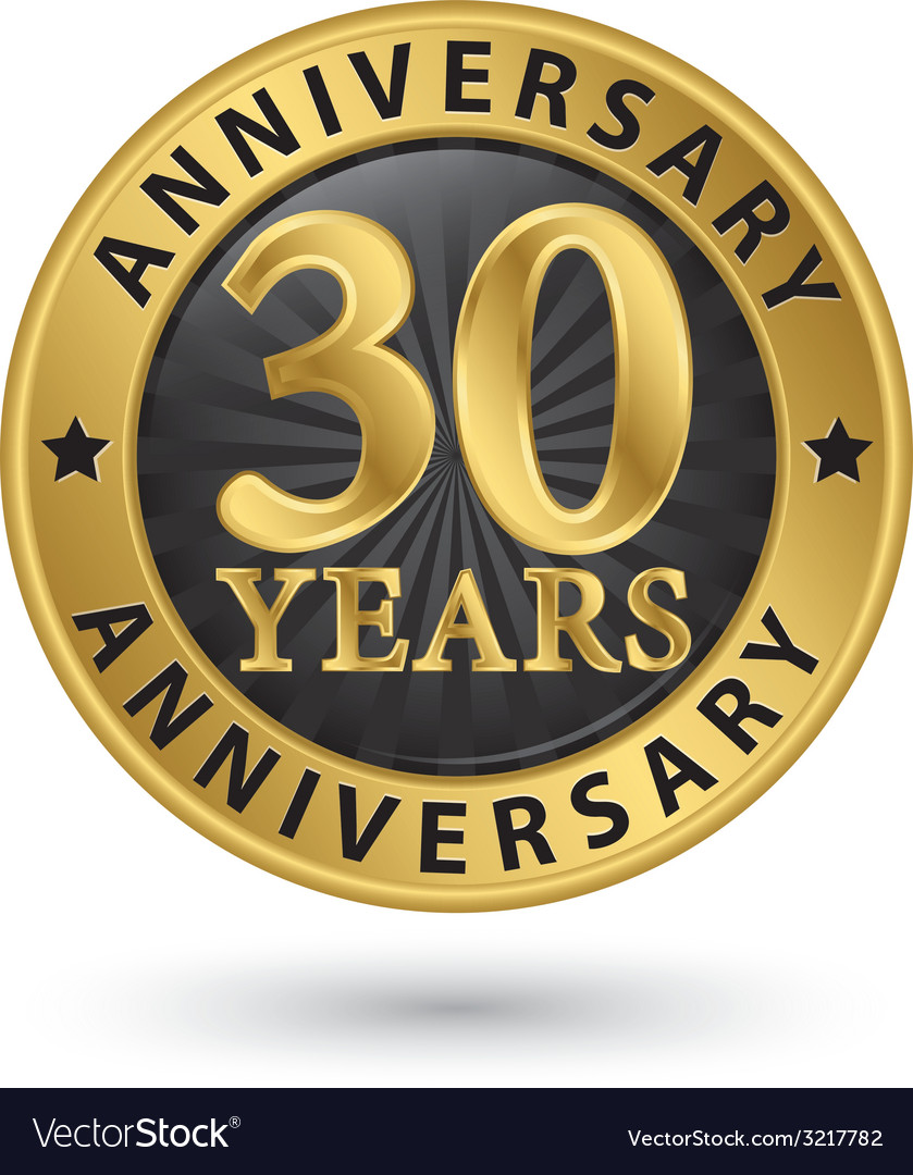 30 years anniversary gold label vector | Price: 1 Credit (USD $1)