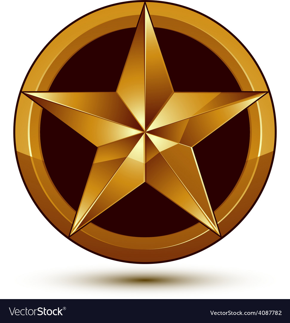 3d classic royal symbol sophisticated golden star vector | Price: 1 Credit (USD $1)