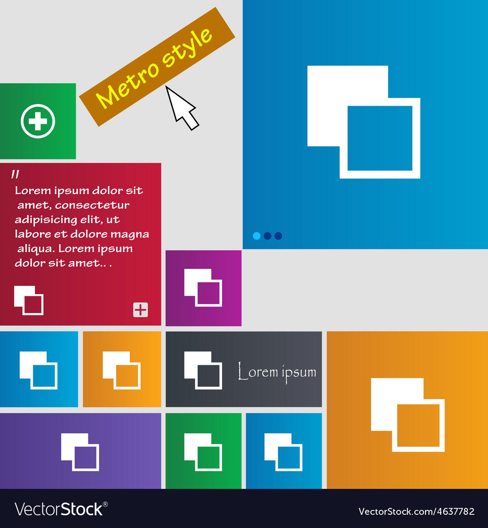Active color toolbar icon sign metro style buttons vector | Price: 1 Credit (USD $1)
