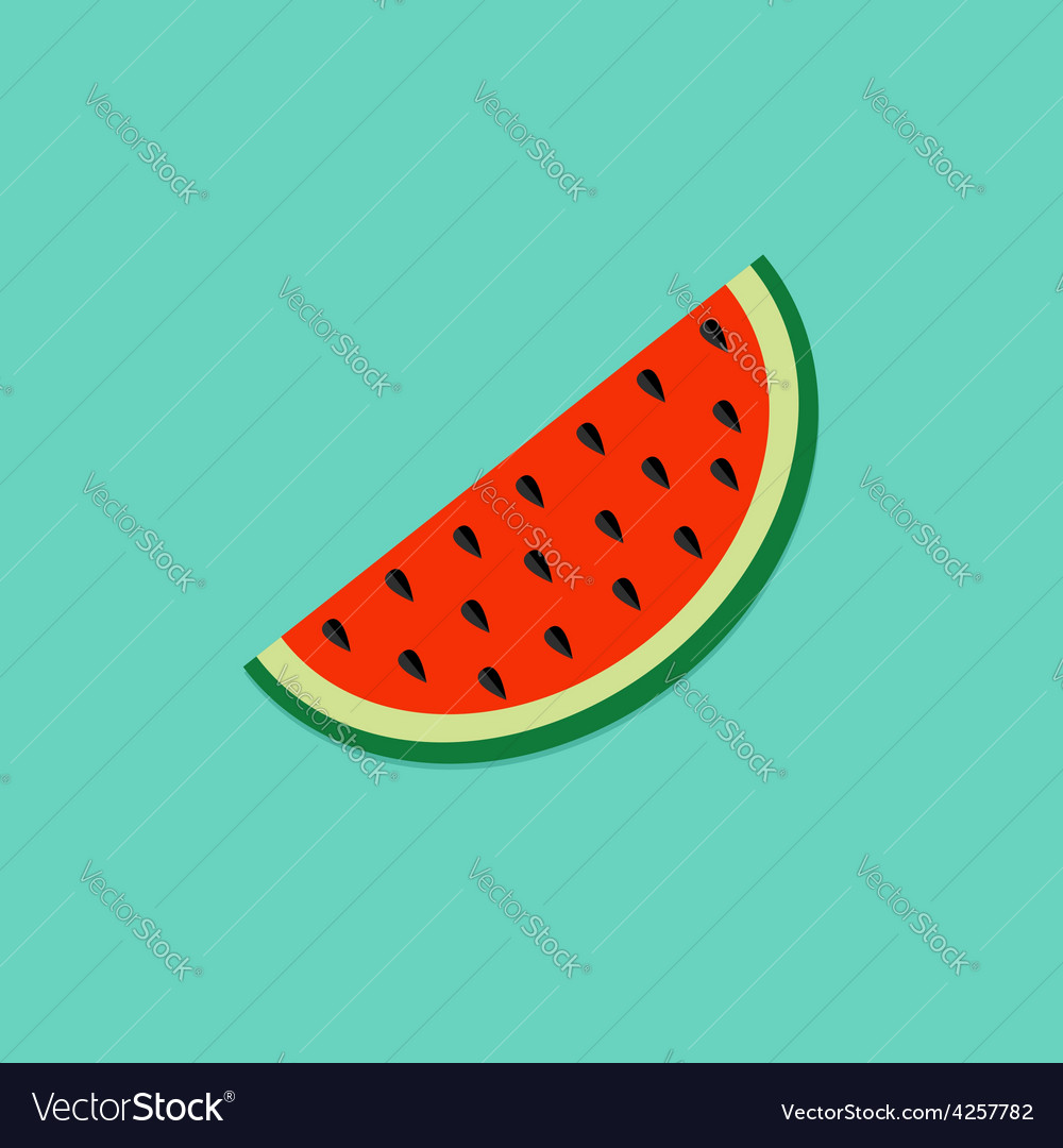 Big watermelon slice cut seed flat design icon vector | Price: 1 Credit (USD $1)