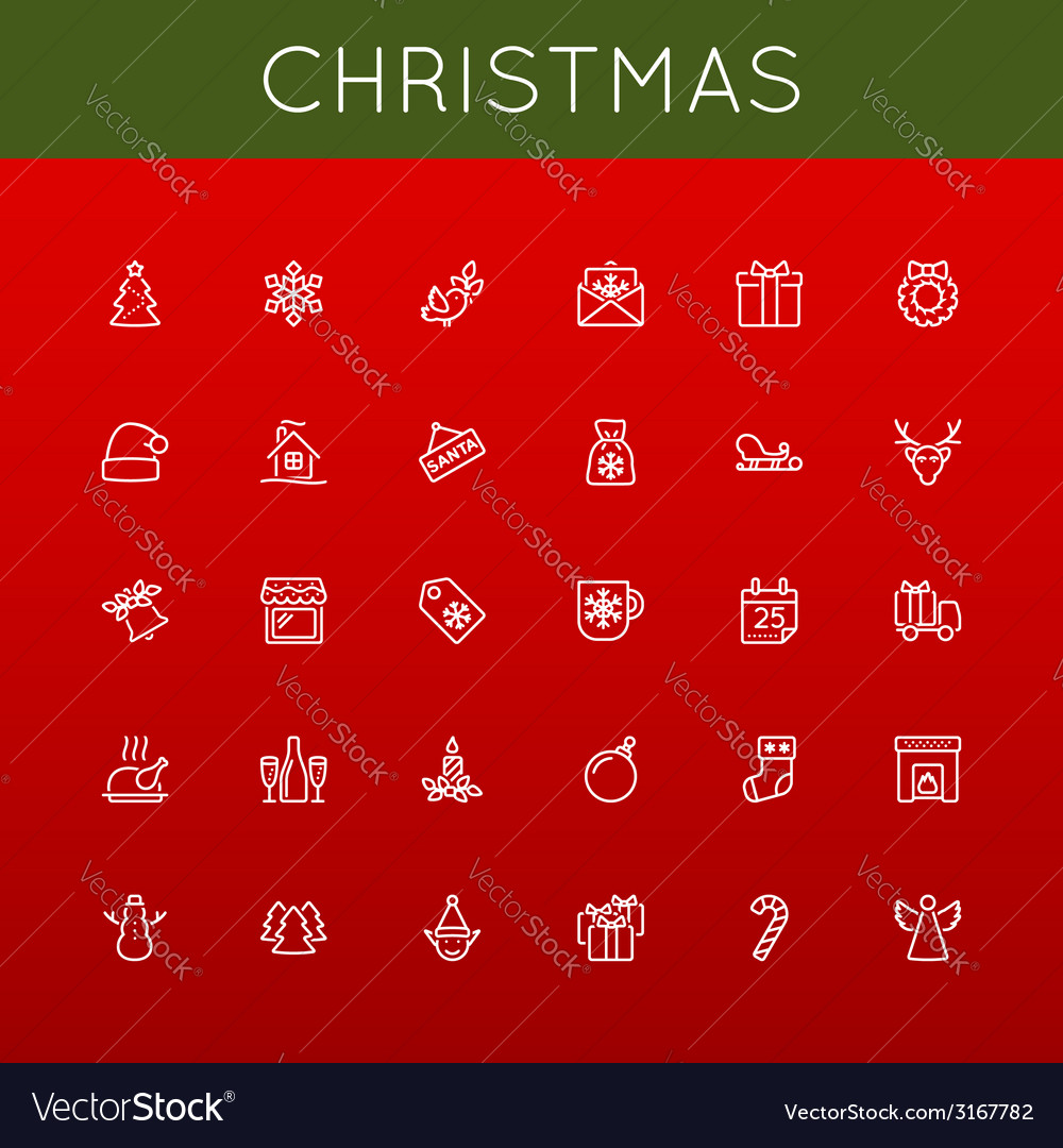 Christmas line icons vector | Price: 1 Credit (USD $1)