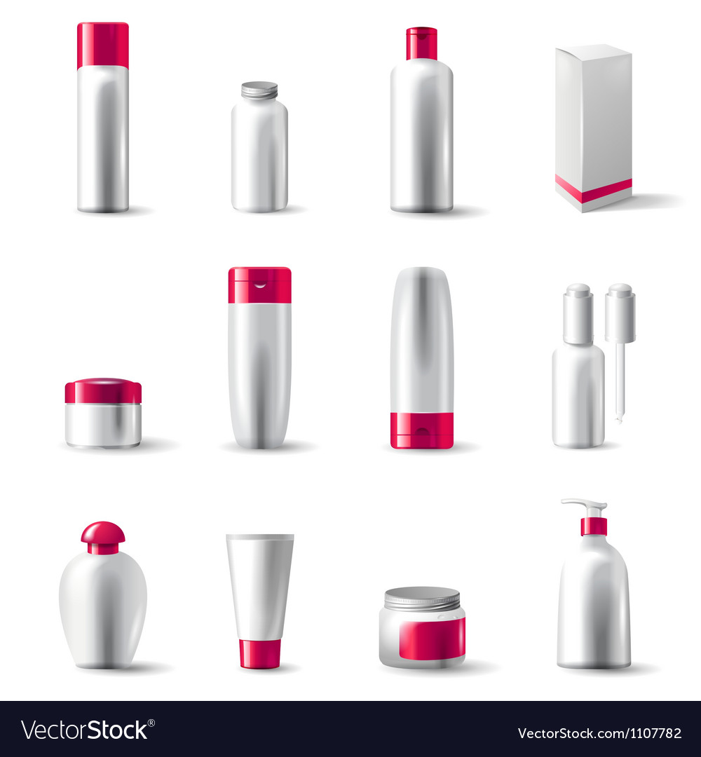 Cosmetics package icons vector