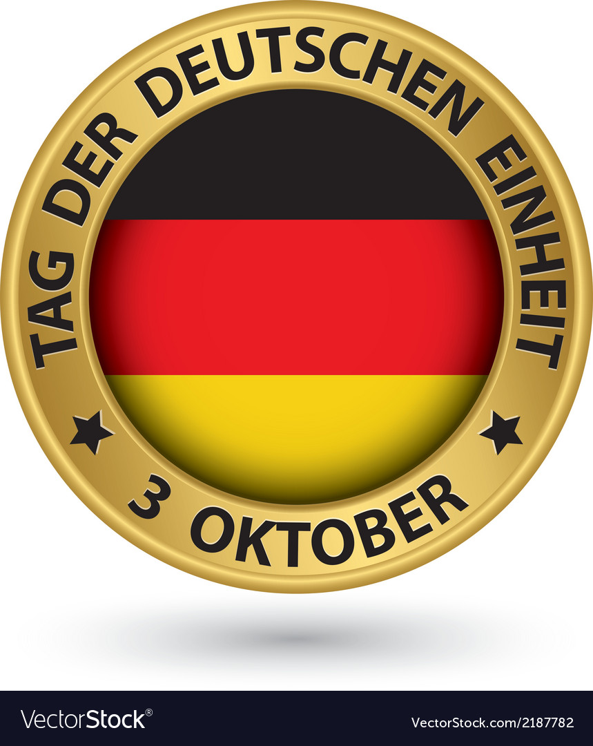 The day of german unity gold label with german vector | Price: 1 Credit (USD $1)