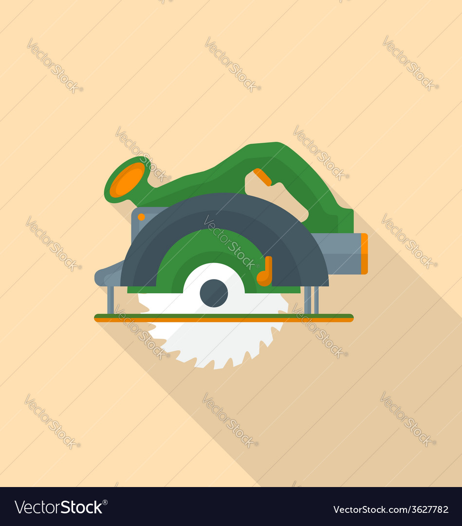 Flat style electric hand circular saw icon with vector | Price: 1 Credit (USD $1)