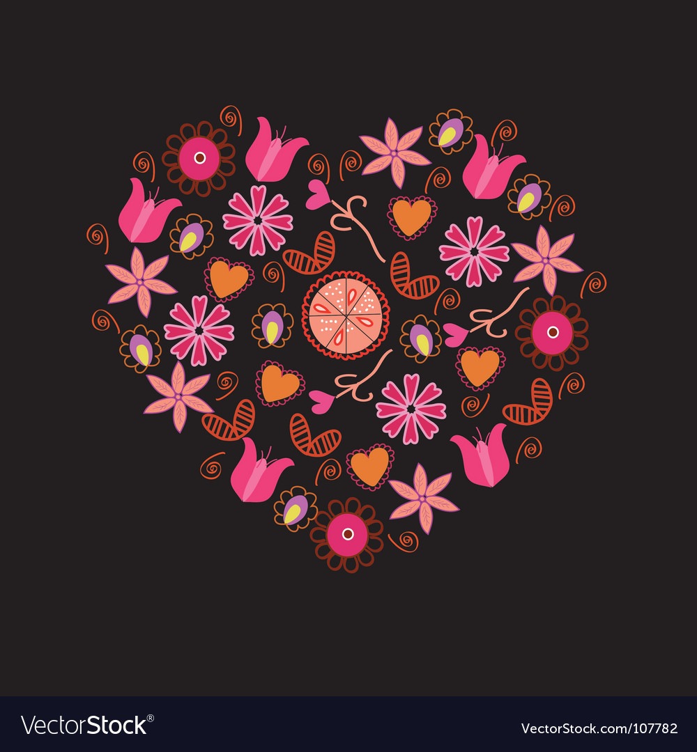 Floral pink heart vector | Price: 1 Credit (USD $1)