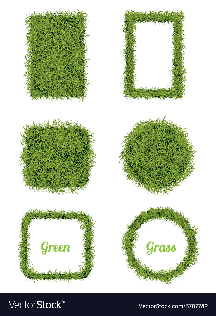 Green grass background and frame set vector | Price: 1 Credit (USD $1)