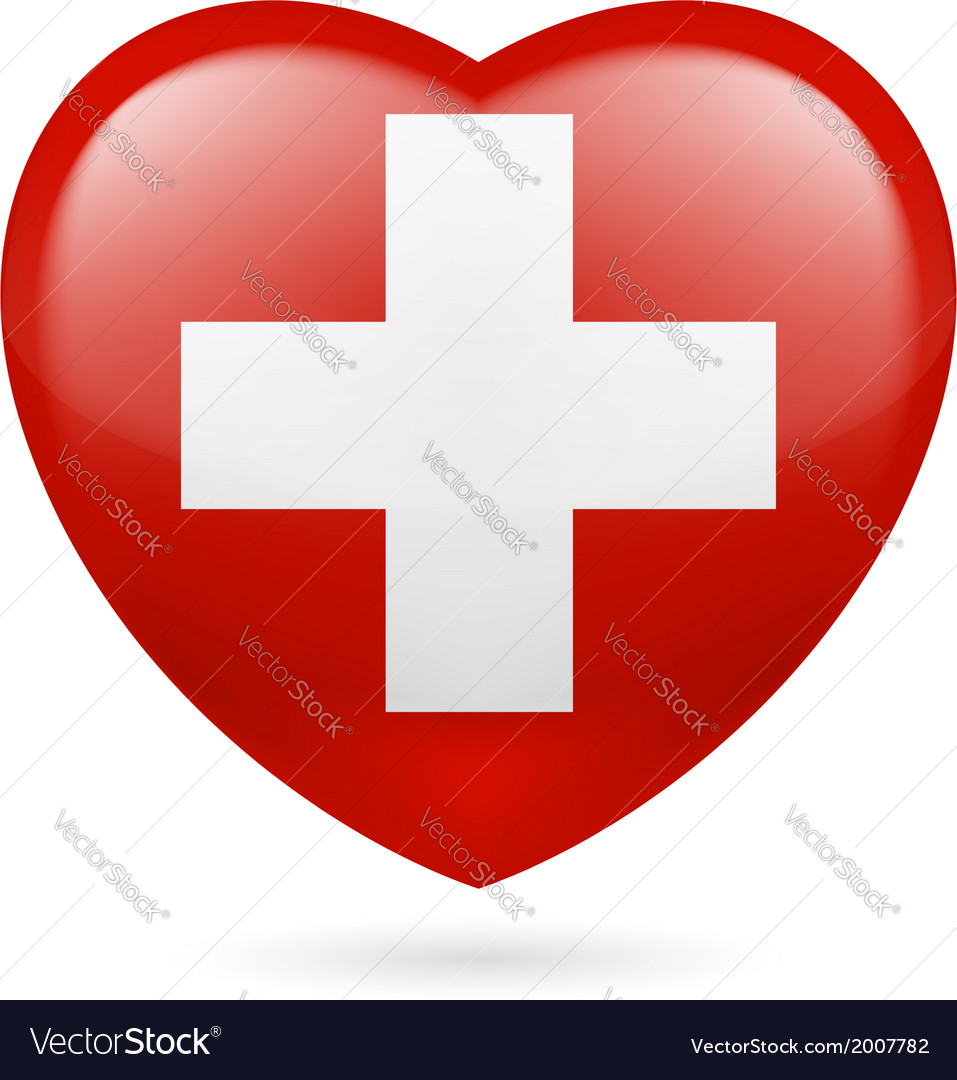 Heart icon of switzerland vector | Price: 1 Credit (USD $1)