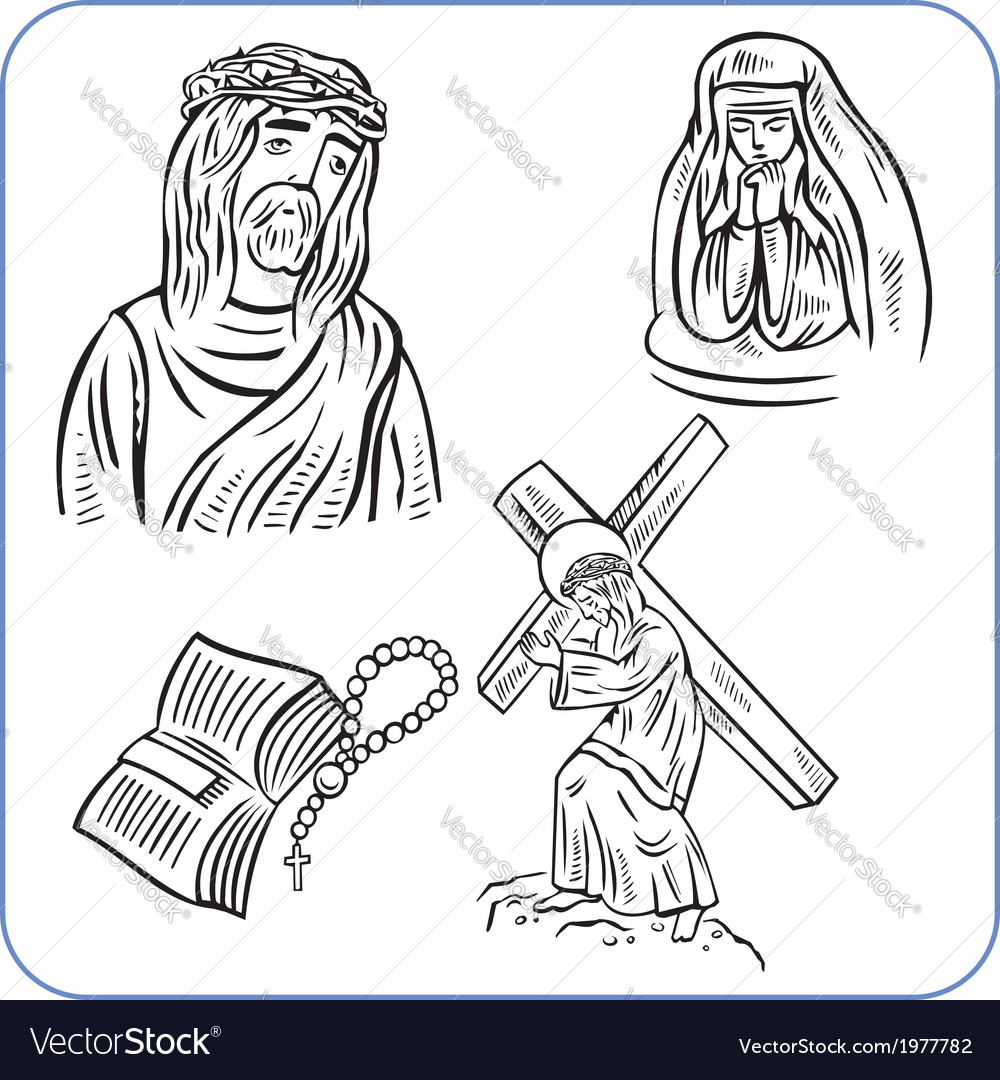 Jesus christ and bible - vector | Price: 1 Credit (USD $1)