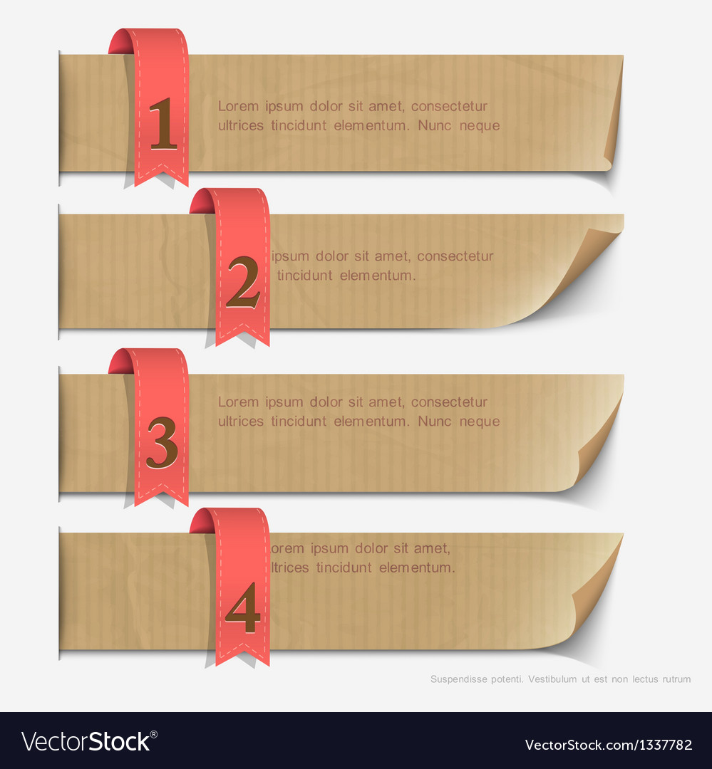 Paper numbered banners design for infographics vector | Price: 1 Credit (USD $1)