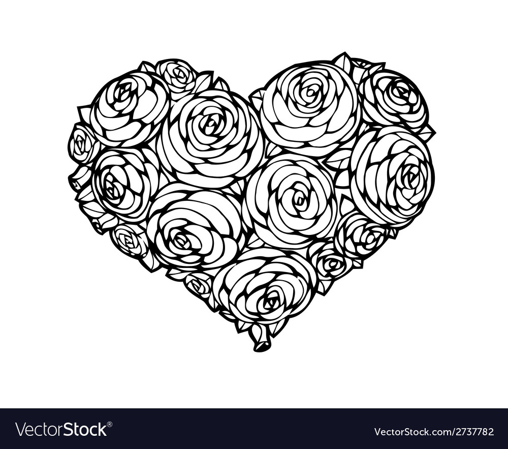 Roses in shape of a heart vector | Price: 1 Credit (USD $1)