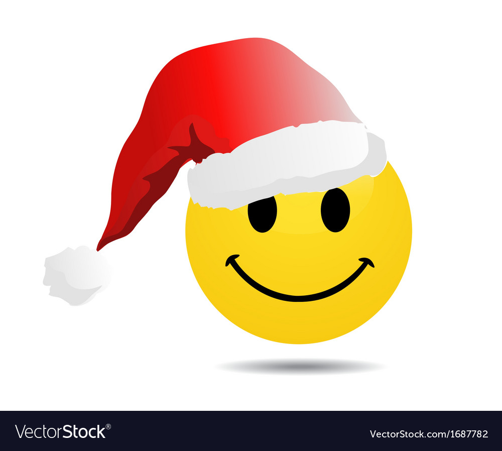Smiley face with santa hat vector | Price: 1 Credit (USD $1)