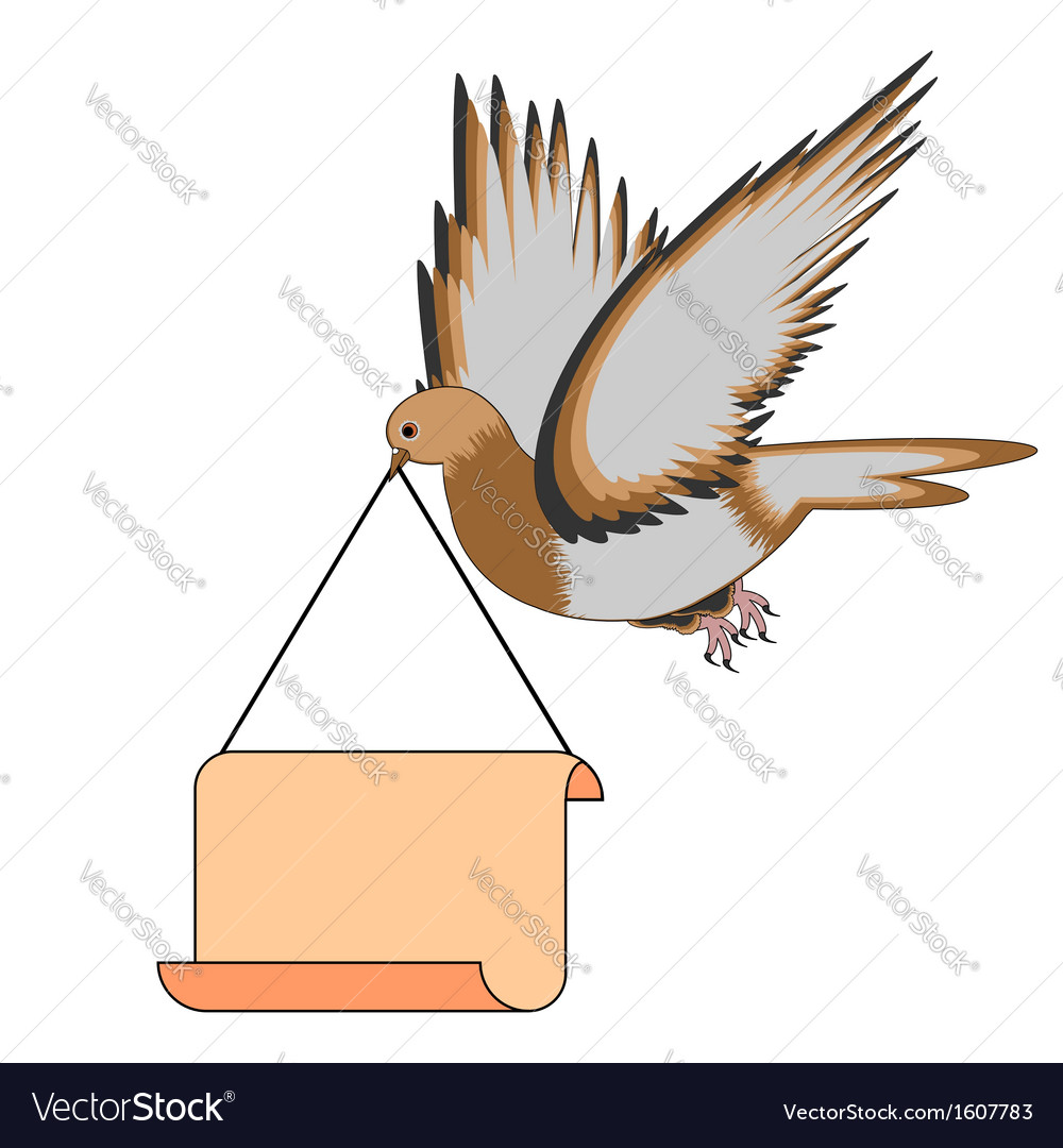 A flying pigeon holding a big blank paper in beak vector | Price: 1 Credit (USD $1)