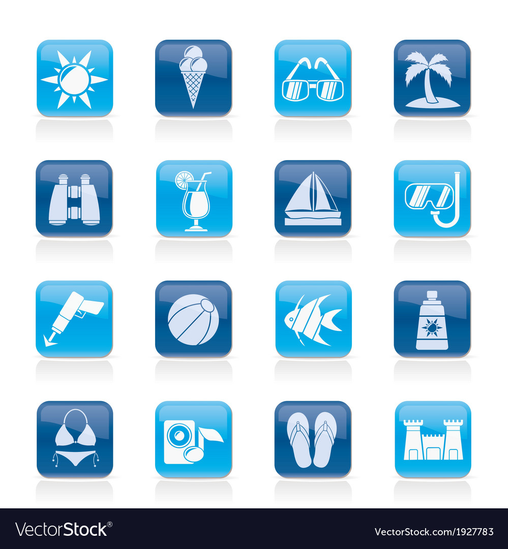 Beaches and summer icons vector | Price: 1 Credit (USD $1)