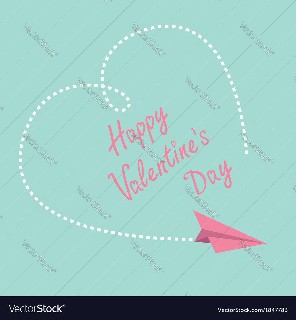 Flying paper plane big heart valentines day vector | Price: 1 Credit (USD $1)