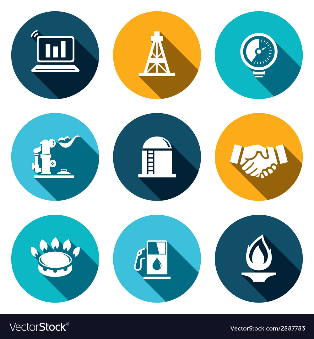 Gas trade icon set vector | Price: 1 Credit (USD $1)