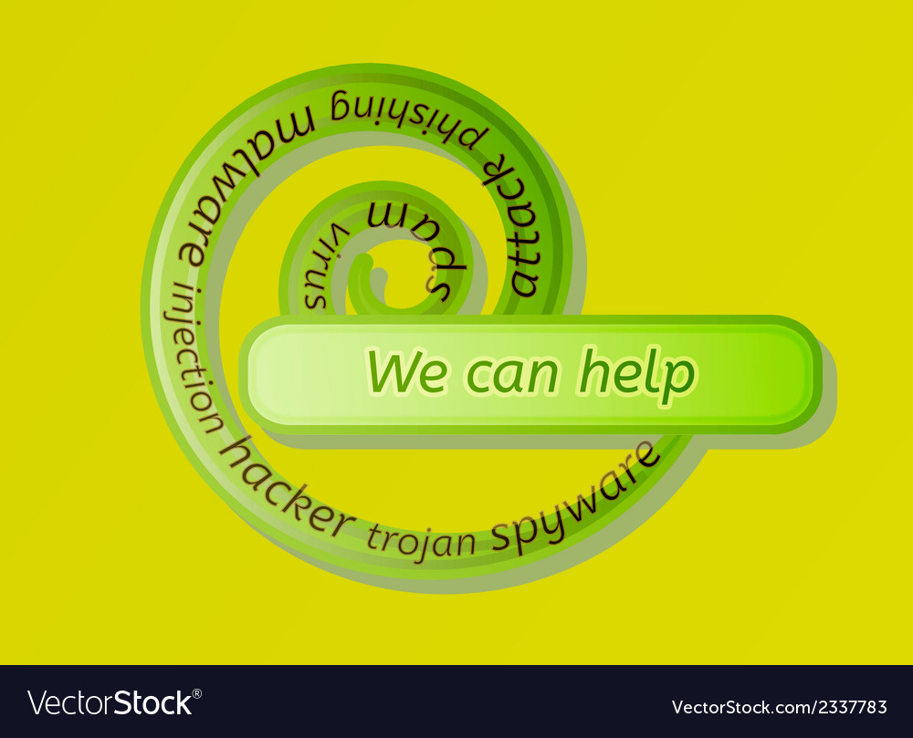 Green spiral label with we can help vector | Price: 1 Credit (USD $1)