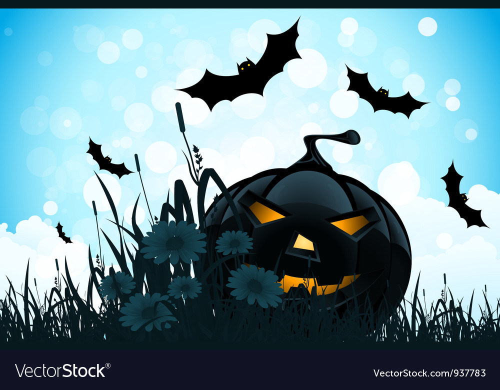 Halloween background with flowers and pumpkin vector | Price: 1 Credit (USD $1)