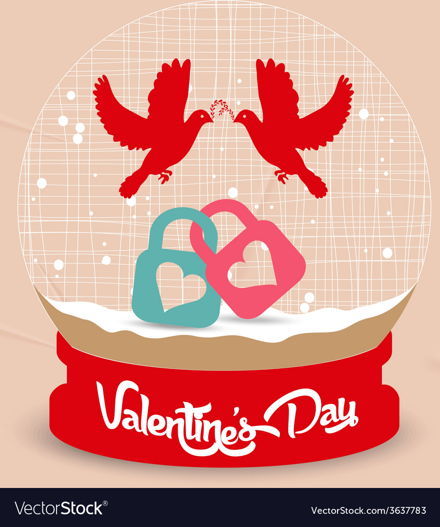 Happy valentines day couple bird and lock globe vector | Price: 1 Credit (USD $1)