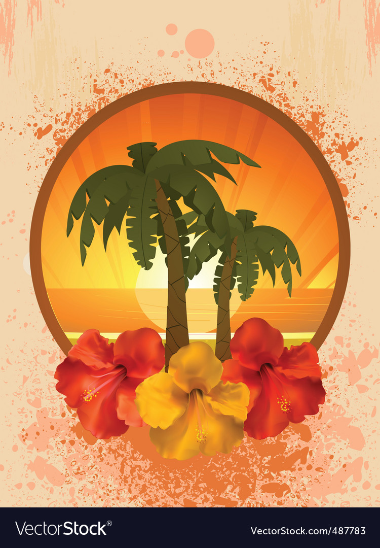 Hibiscus flowers and palm trees vector | Price: 1 Credit (USD $1)