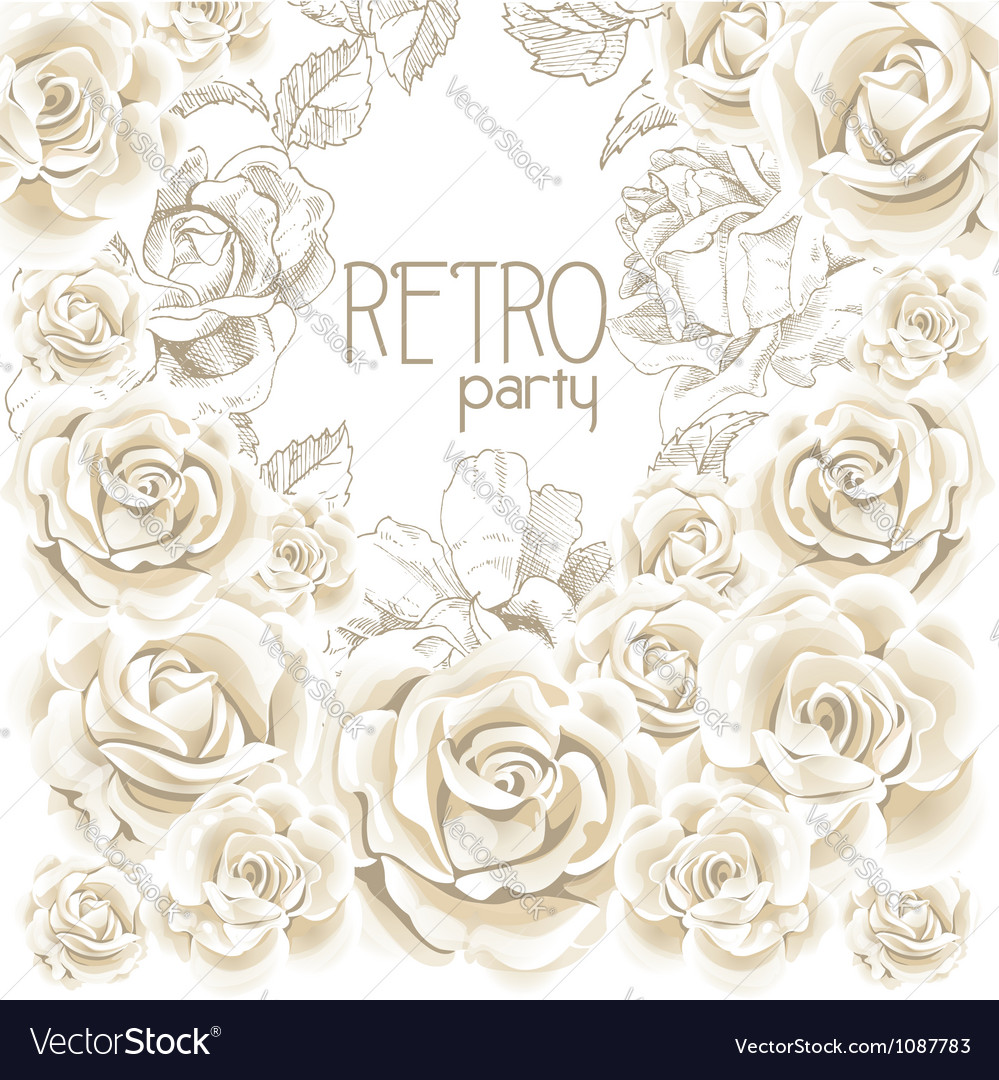 Retro party white flowers background vector | Price: 1 Credit (USD $1)