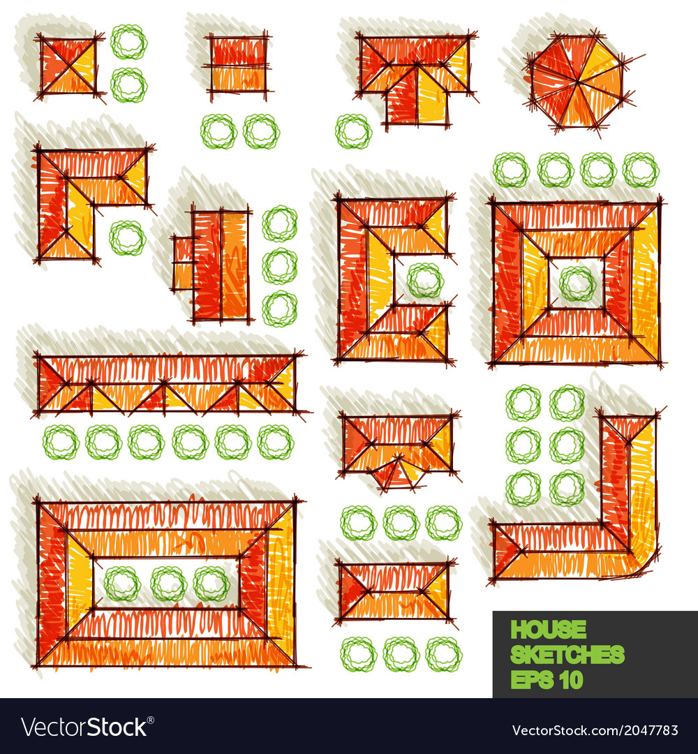 Set of architectural sketches vector | Price: 1 Credit (USD $1)