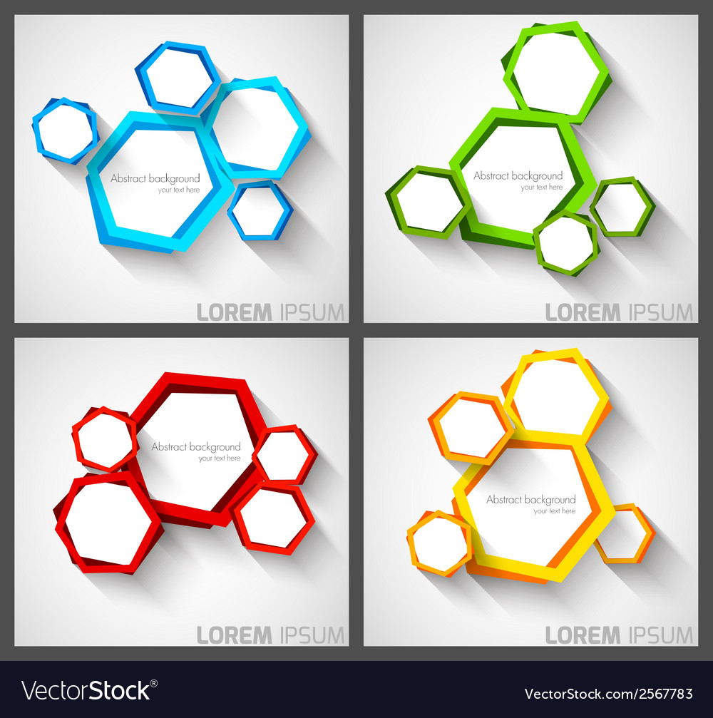 Set of background with hexagons vector | Price: 1 Credit (USD $1)
