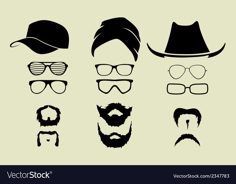 Set of glasses mustache and hats vector | Price: 1 Credit (USD $1)