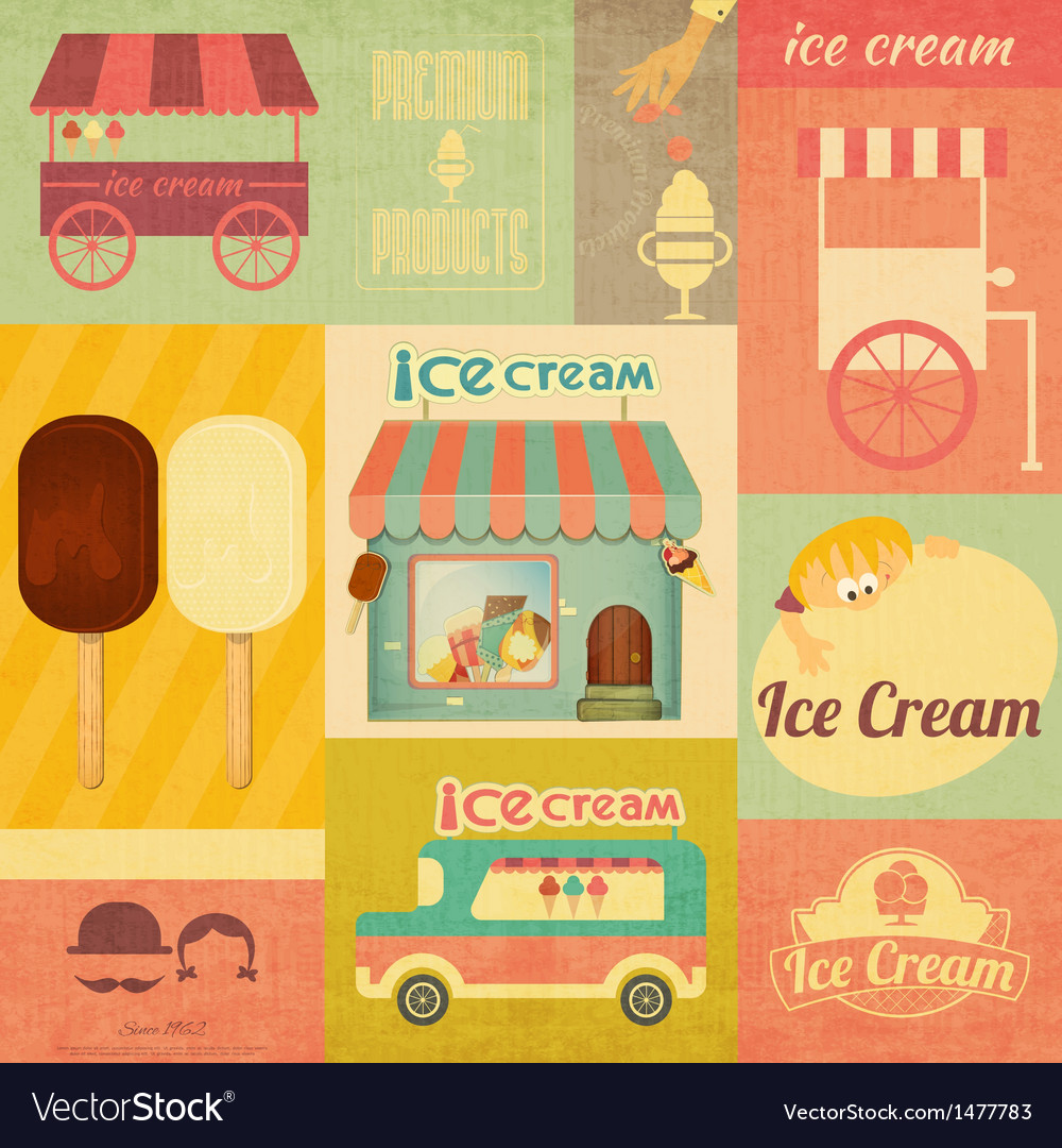 Set of ice cream design elements vector | Price: 3 Credit (USD $3)