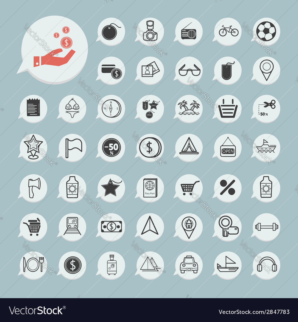 Shopping and tourism icon set on blue paper vector | Price: 1 Credit (USD $1)