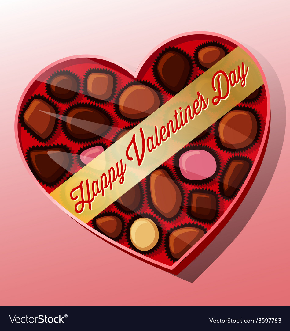 Valentines day candy heart shaped box vector | Price: 1 Credit (USD $1)