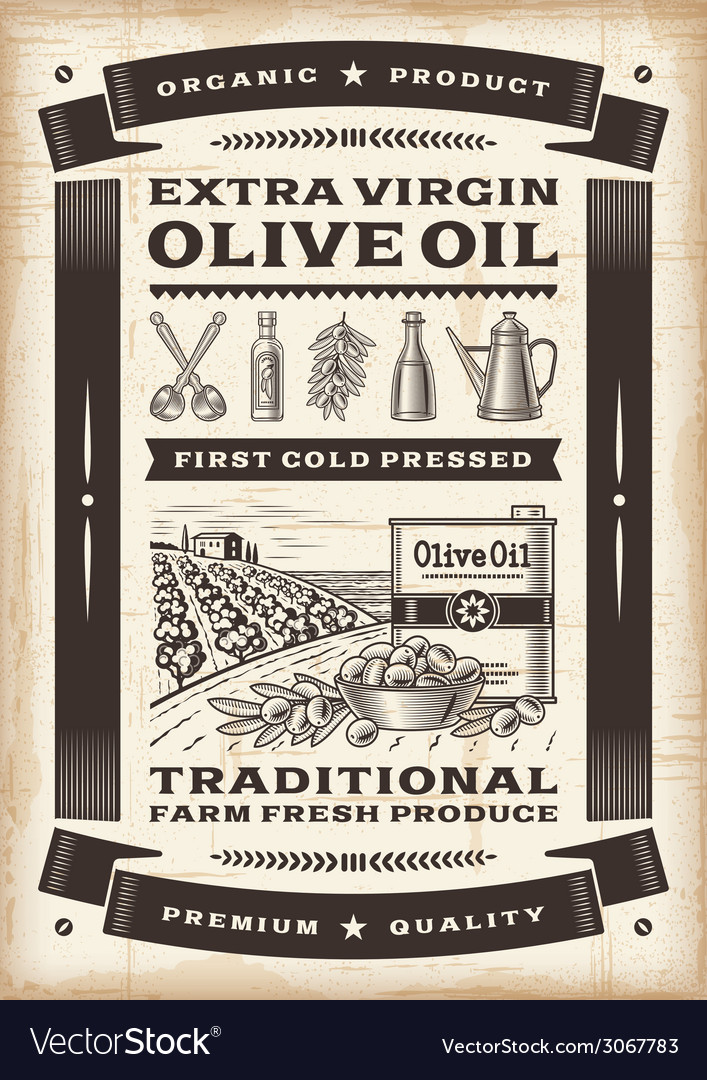 Vintage olive oil poster vector | Price: 1 Credit (USD $1)