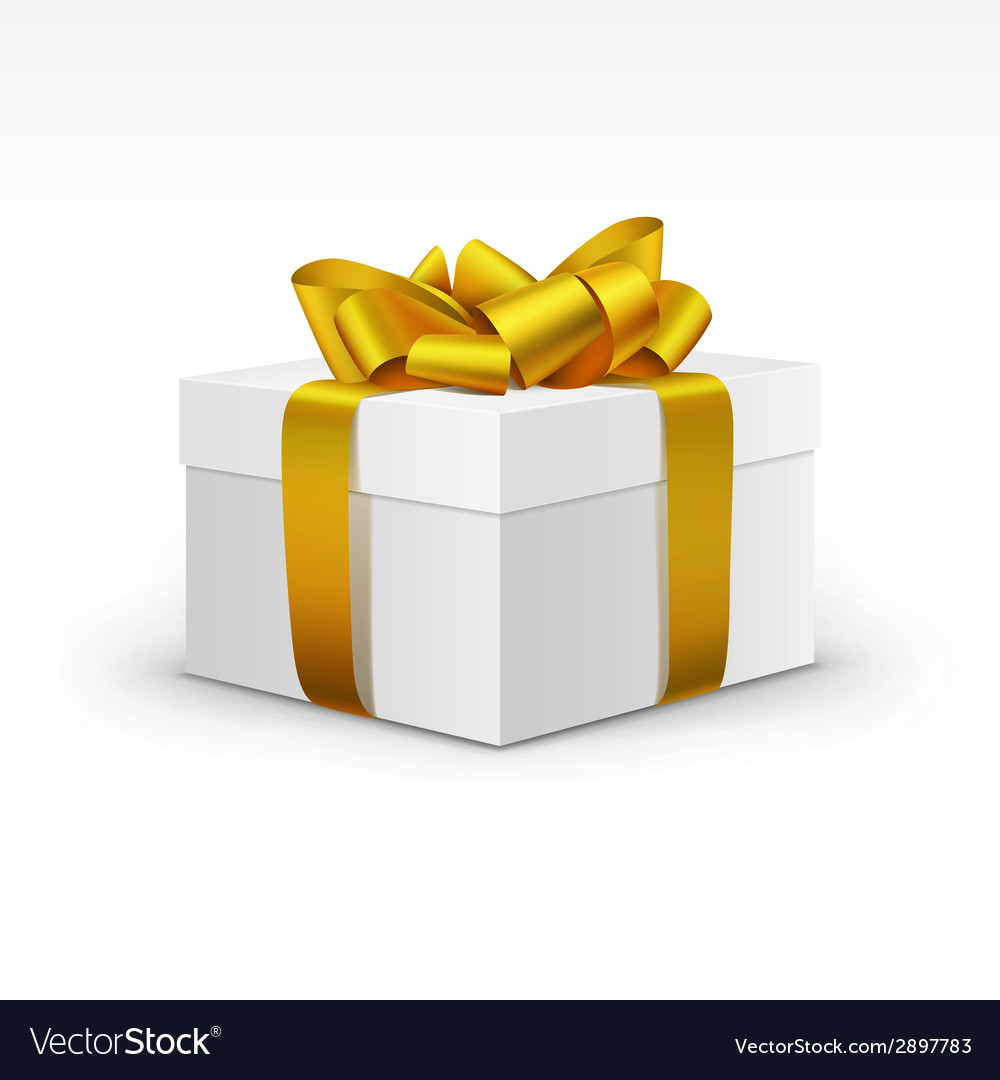 White gift box with yellow gold ribbon isolated vector | Price: 1 Credit (USD $1)
