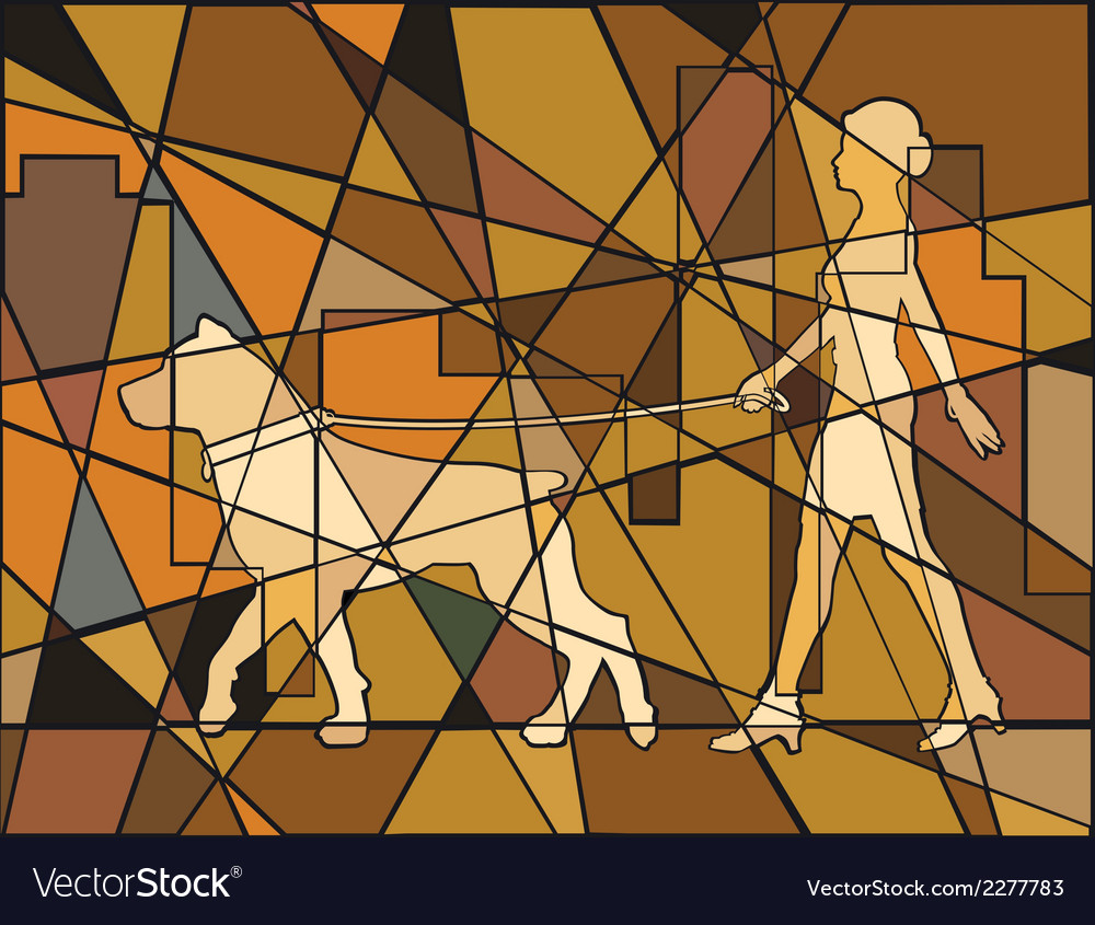 Woman and dog vector | Price: 1 Credit (USD $1)