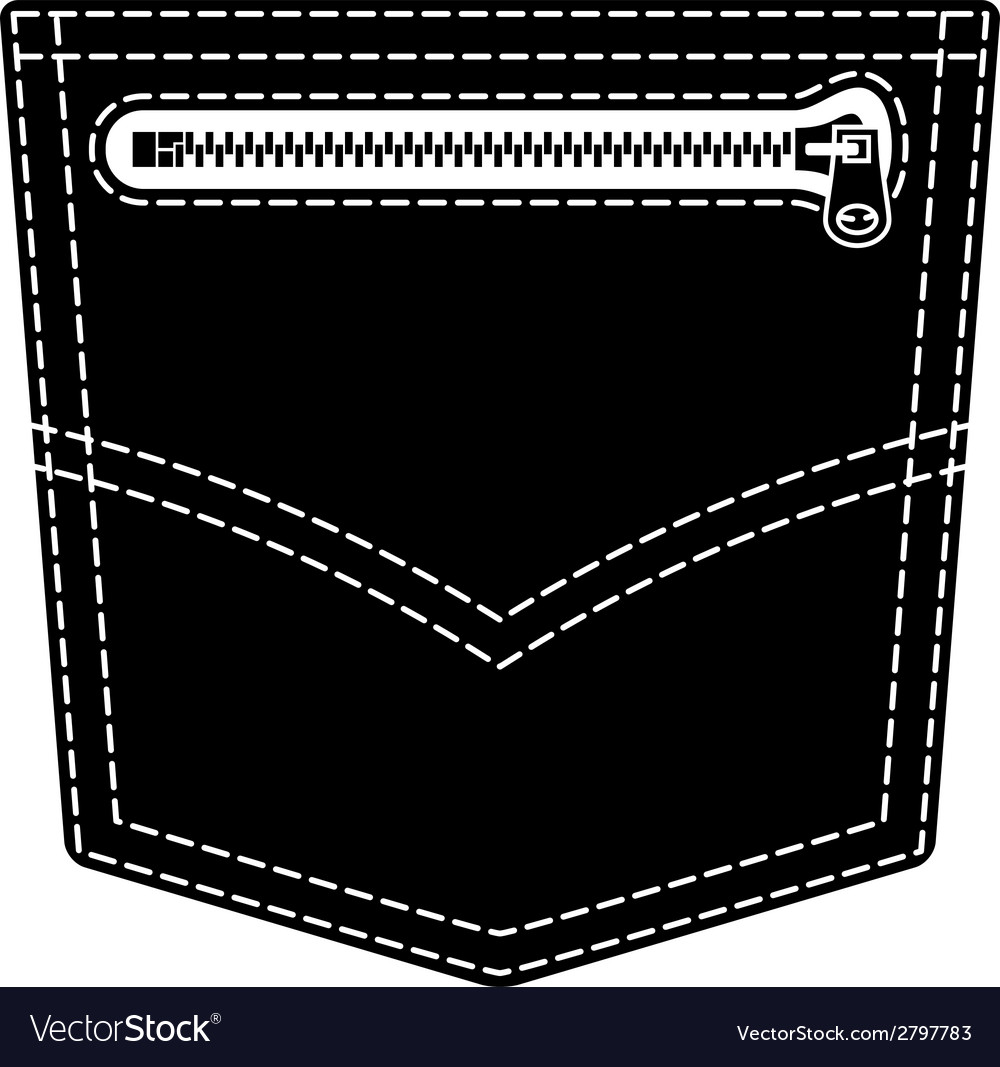 Zipper jeans pocket black symbol vector | Price: 1 Credit (USD $1)