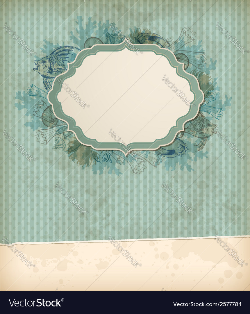 Background with fish shells and label vector | Price: 1 Credit (USD $1)