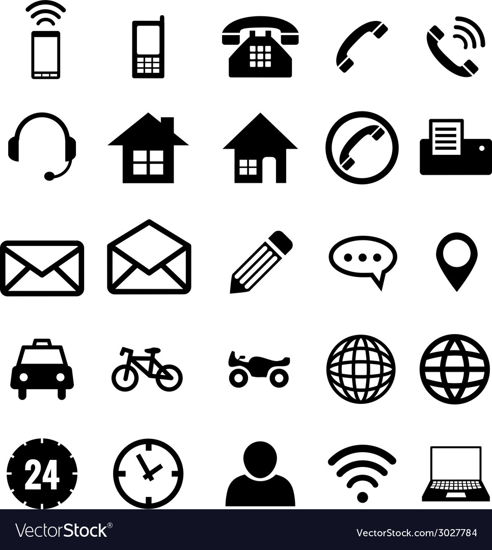 Contact icon collection for business vector | Price: 1 Credit (USD $1)