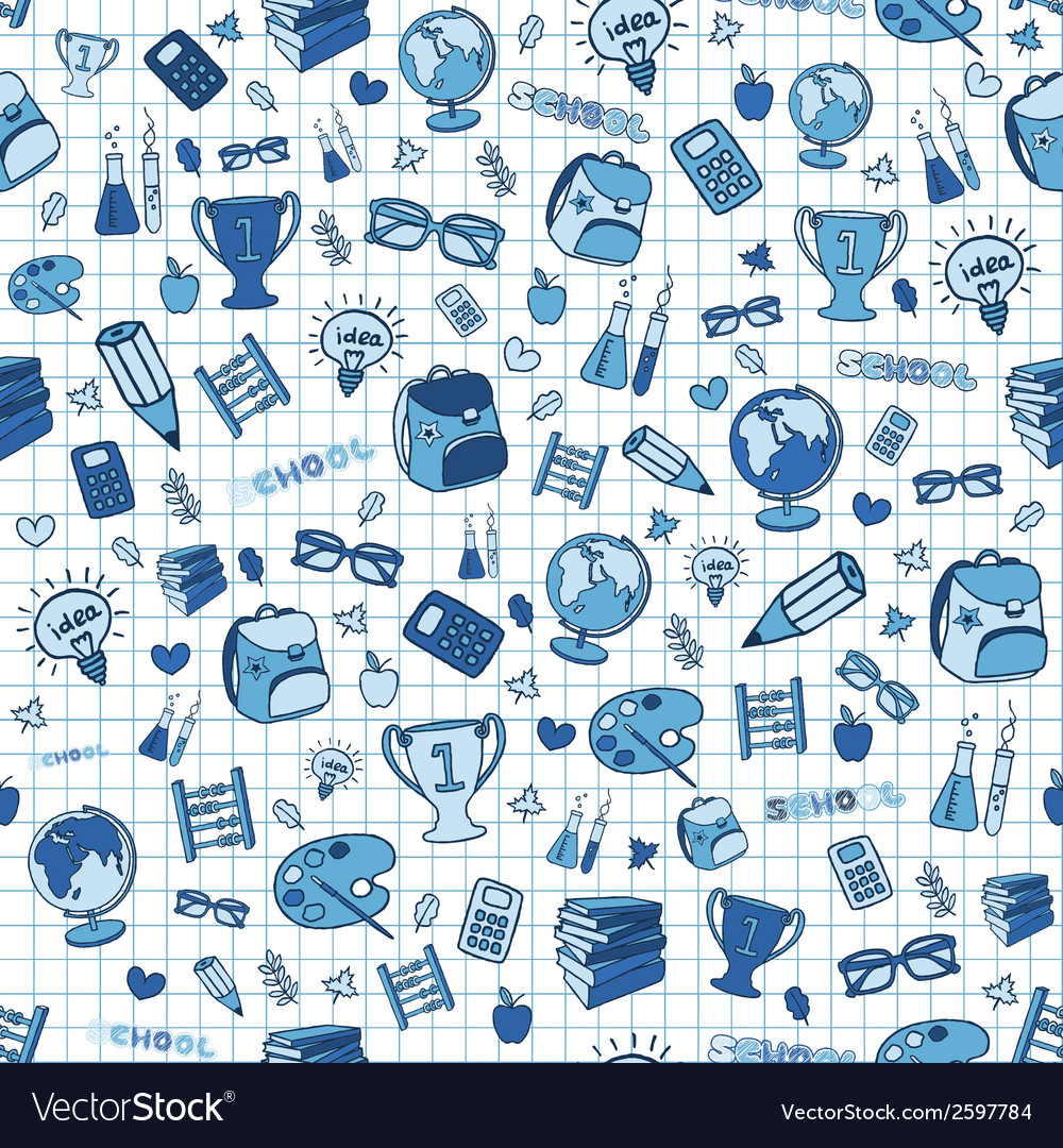 Hand drawn seamless school background vector | Price: 1 Credit (USD $1)