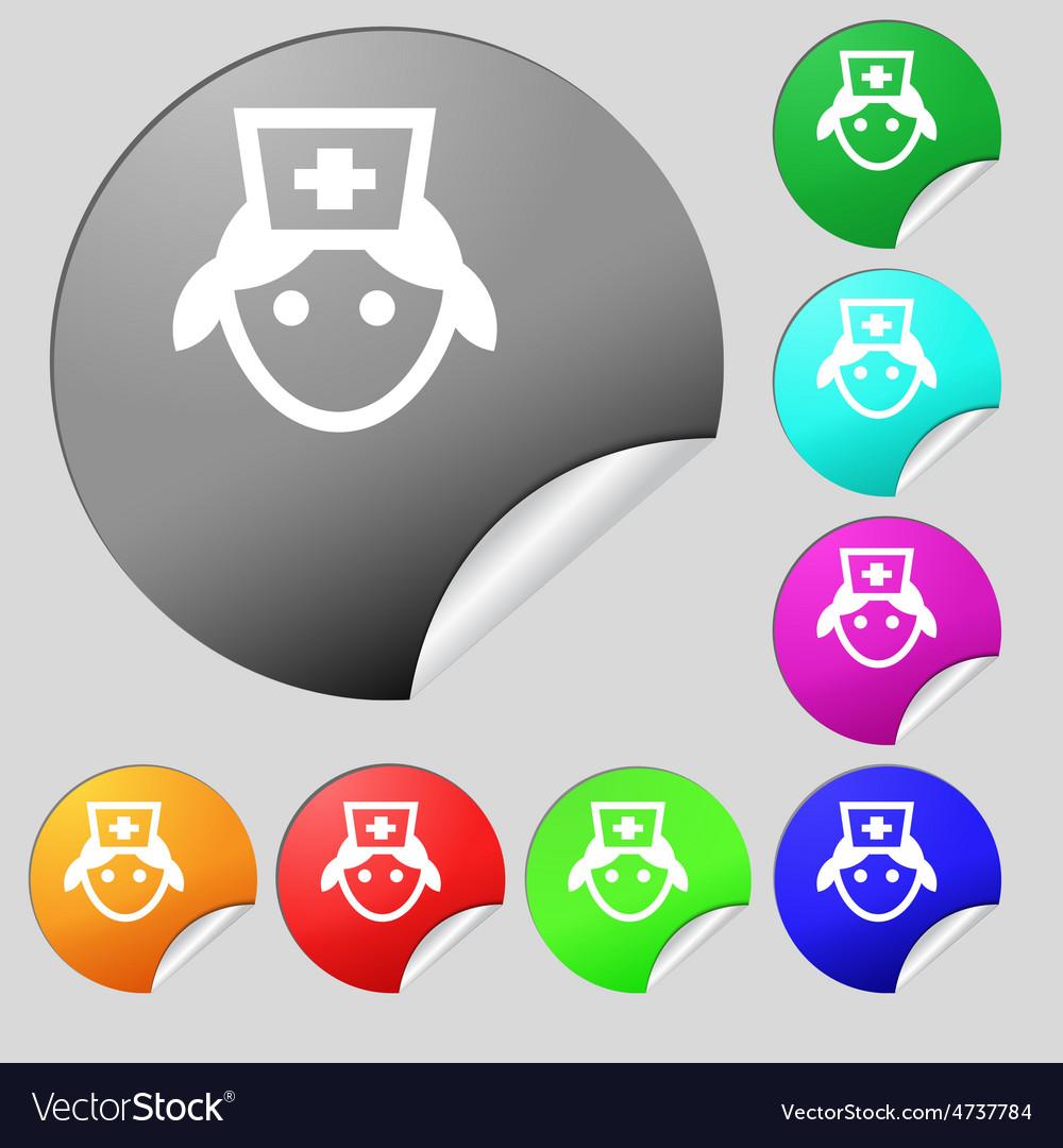 Nurse icon sign set of eight multi-colored round vector | Price: 1 Credit (USD $1)