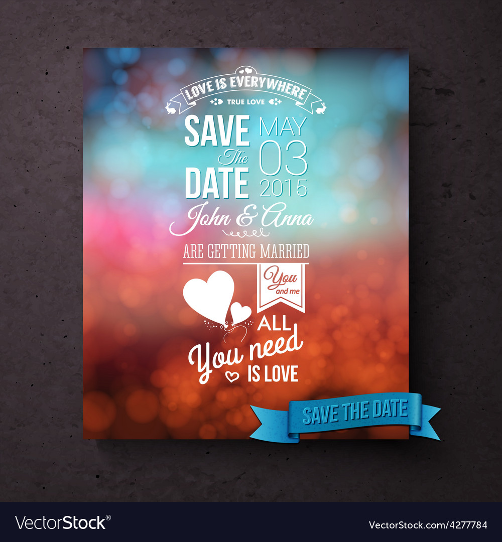 Save the date template with messages of love vector | Price: 1 Credit (USD $1)