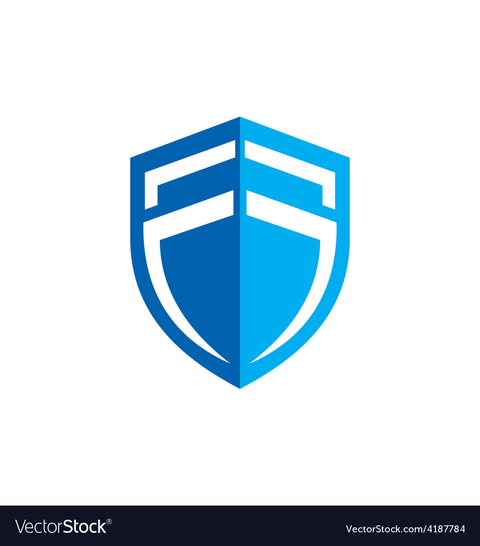 Shield blue protection business logo vector