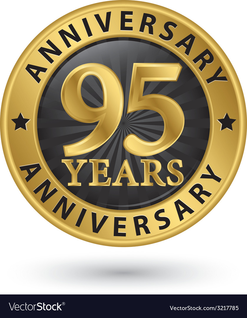 95 years anniversary gold label vector | Price: 1 Credit (USD $1)