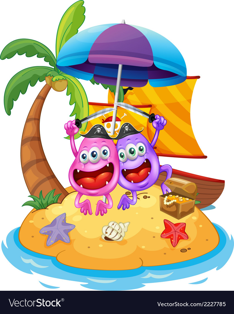 An island with pirate monsters vector | Price: 1 Credit (USD $1)