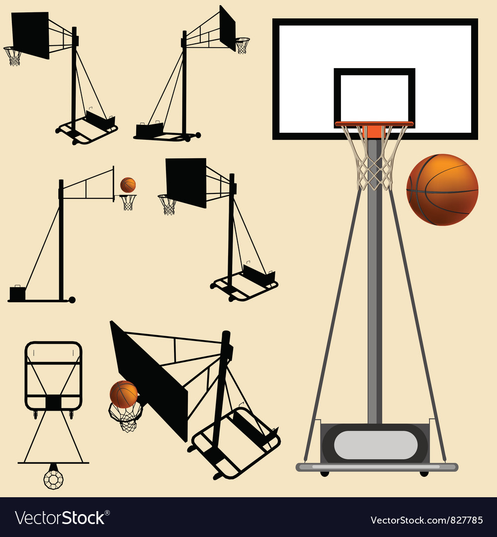 Basketball hoop and ball silhouette vector | Price: 1 Credit (USD $1)