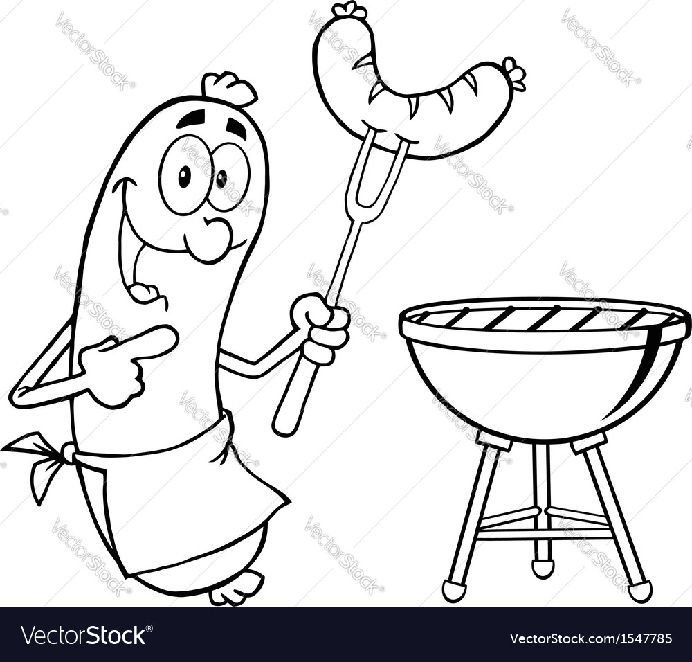 Bbq cooked sausage cartoon vector | Price: 1 Credit (USD $1)