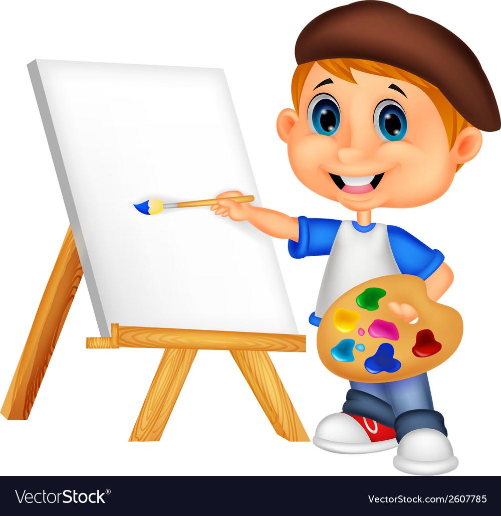 Cartoon boy painting vector | Price: 1 Credit (USD $1)