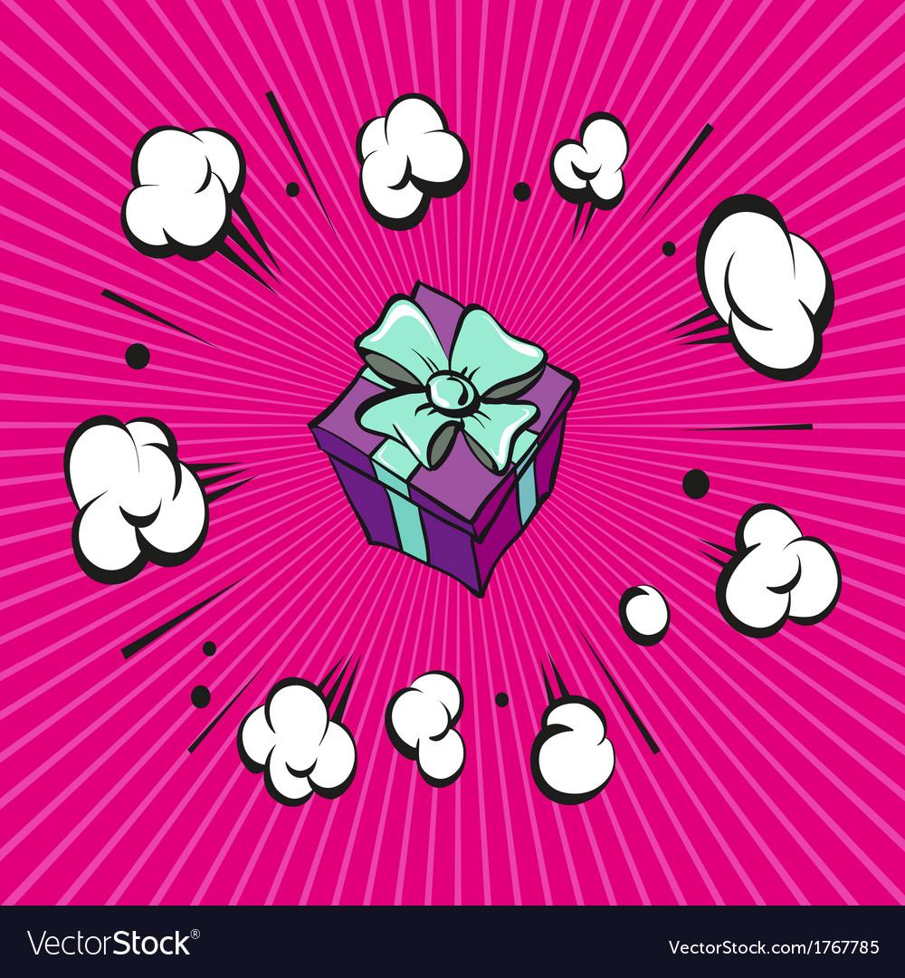 Comic book explosion present vector   Price: 1 Credit (USD $1)