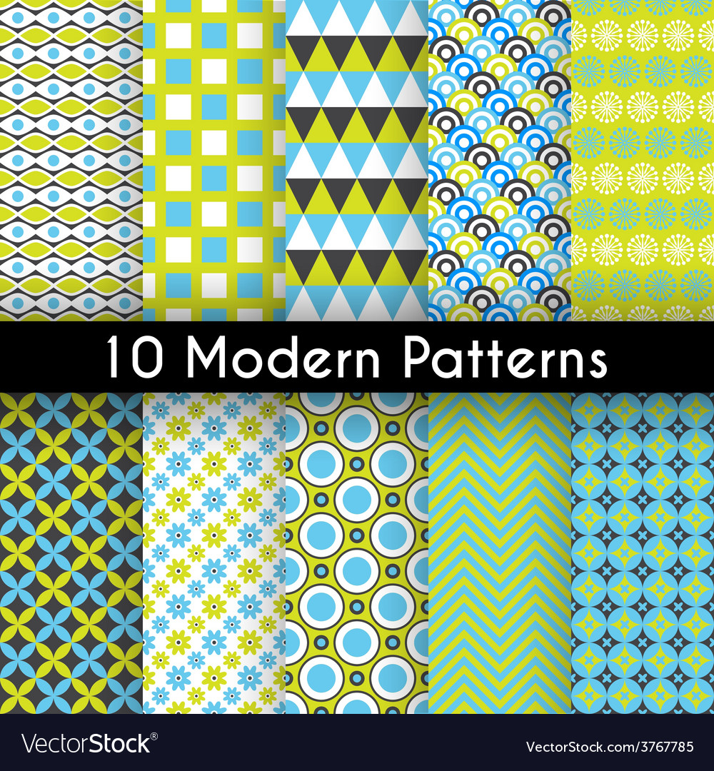 Different modern seamless patterns vector | Price: 1 Credit (USD $1)