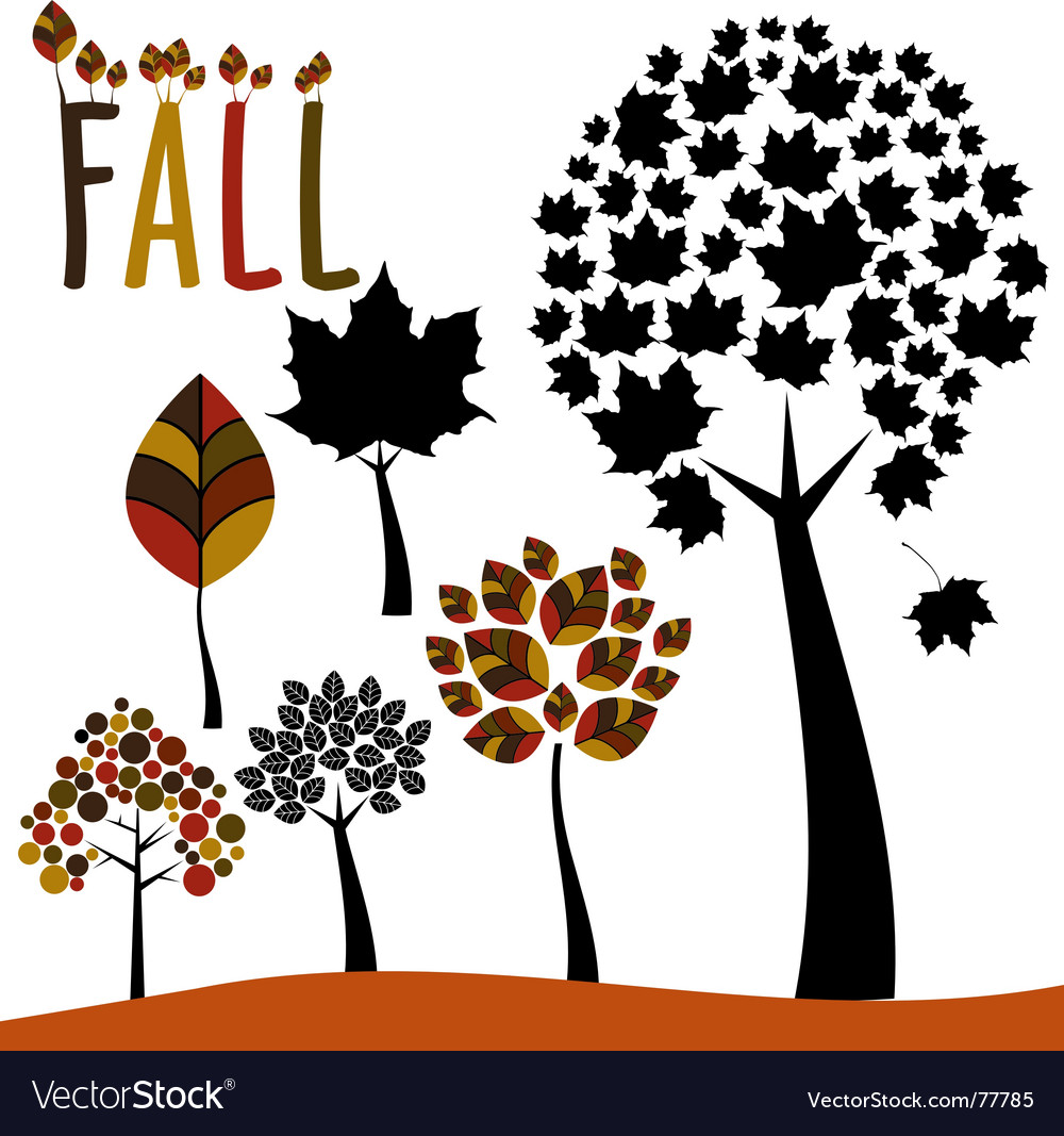 Fall trees and leaves vector | Price: 1 Credit (USD $1)