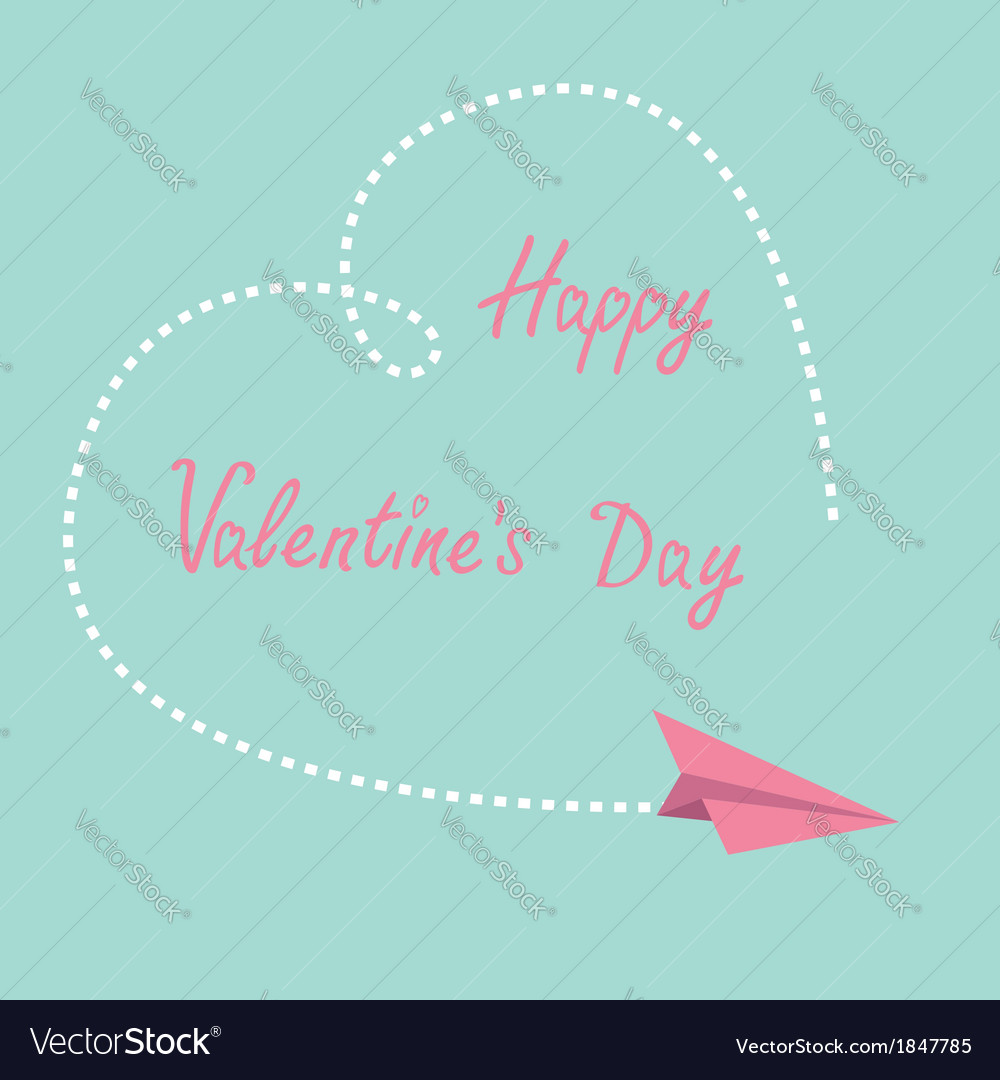 Flying paper plane dash heart valentines day vector | Price: 1 Credit (USD $1)